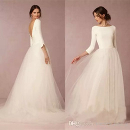 Cheap Modest Winter Wedding Dresses A Line Satin Top Backless 2019 Bridal Gowns with Sleeves Simple Design Soft Tulle Skirt Sweep Train
