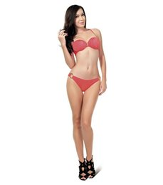 Wholesale Bandeau Bikini with shirring furface New Style Swimwear Invisible Wire Metal Trims sets per
