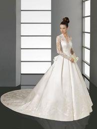 Sheer Long Sleeves Wedding Dresses Kate Middleton Bridal wedding gowns V-Neck lace Appliques Satin Chapel Train A-Line Wedding Dress