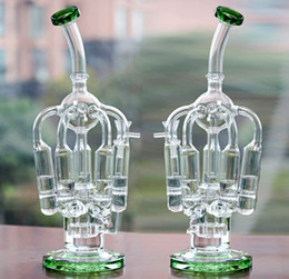 Newest Green Glass Bongs 5 Honeycomb Percs Tyre Perc Creative Design Recycler oil rigs Bongs Beaker Bowl Oil Rigs Bongs Water Pipes Hookahs
