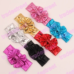 free shipping 120pcs Metallic Messy Bow Baby Head wraps, Jersey knot Headwraps, Big Bow Baby Headbands,Gold Knott Headband