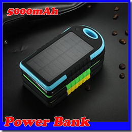 Wholesale -2015 Hot 5000mAh 2 USB Port Solar Power Bank Charger External Backup Battery With Retail Box For iPhone iPad Samsung Mobile Phone