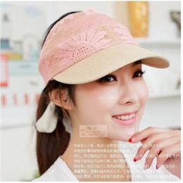 Wholesale-Fashion Lady Tennis Golf Beach Plain Hat Women Lace Adjustable Sun Visor Cap