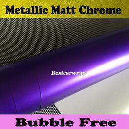 Satin Purple Chrome Car Wrap Vinyl with Air Release chrome Matte metallic purple Film Vehicle Wrap styling Car stickers size1.52x20m Roll