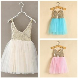 New Princess Girls Party Dress Summer Sequined Mesh Tutu Style Wedding Dress Girls Clothes 5 Colors
