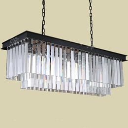 Rectangular Smoke clear pendant crystal lighting for Dining room Kitchen coffee shop Bar led crystal chandelier Chinese style hanging lamps