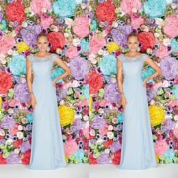 2015 Light Blue Chiffon Bridesmaid Dresses A Line Beteau Neckline Capped Sleeves Lace Bodice Evening Dresses Long
