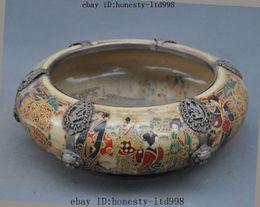 Wholesale Antiques China Porcelain Inlay Tibet Silver Dragon Phoenix Belle Bowl Pot Crock