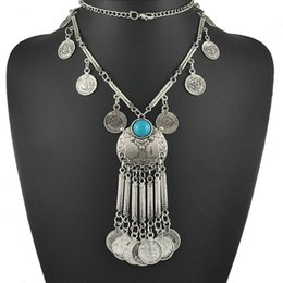 New freepeople Ethnic Beach jewelry Long Tassel Necklace coin statement necklace antique silver color gift for girl N335