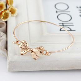 Wholesale Rose Gold Color Alloy Concise Bowknot Charm Music Bracelets and Bangles Hand Made Bijuterias For Women