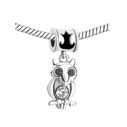 European style metal clear crystal owl spacer dangle bead infant lucky charms Fits Pandora charm bracelet