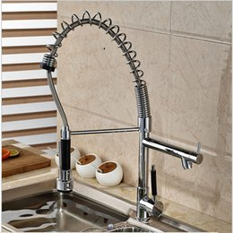 Wholesale Hot Sale And Retail Luxury Spring Kitchen Faucet Dual Spouts Swivel Bar Vessel Vanity Tap Hot Cold Mixer