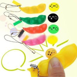 Wholesale 2015 New Happy Funny Colorful Extrusion Pea Bean Soybean Edamame Stress Relieve Toy Keychain Key Ring