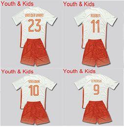 Wholesale Kids Netherlands jersey BLIND V PERSIE SNEUDER ROBBEN VAN DER VAART home white youth children Holand soccer jersey