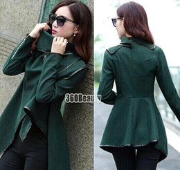 Wholesale Women Fall Winter Clothes New European American Wool Blends Coats Ladies Trim Personality Asymmetric Rules Short Jacket OXL15100701