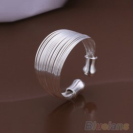 Fashion Multilayer Chain Women Ring Plated Wide Band Silver Ring 1T2T