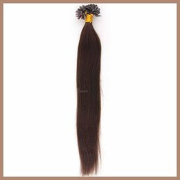 Wholesale Stick Virgin Hair - 6A Brazilian Virgin Hair Bundles Nail Tip U-Tip Hair Extensions Darkest Brown #2 Straight 1g Keratin Stick Hair Human Remy Hair 100pcs Lot