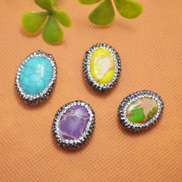 Druzy 10pcs Mixed Color Imperial Jasper Stone & Rhinestone Oval Shape Connector Beads Jewelry Making