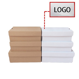 Custom,add print logo 10 sizes white kraft paper children's shoe box,corrugated board box Free shipping 100pcs lot
