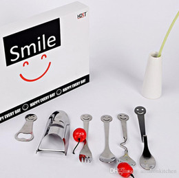 Wholesale Big Smile Cutlery Sets of Dinnerware Stainless Steel Smiling Face Cutlery Kit with Retail Box Perfect Promotion Wedding Thanks Gift