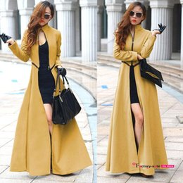 Wholesale 2015 Fall Winter Women Coats Stand Collar Zipper Split Maxi Long Woolen Trench Coats Detachable Fashion Slim Overcoat Outwear OXL9567