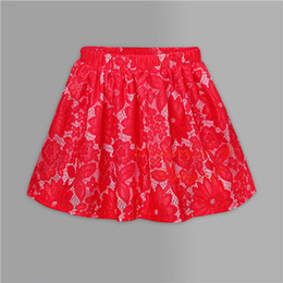 Pettigirl Hot Sellers Girls Summer Skirt Red Lace Pleated Kids Skirt For Everday Wear Wholesale Children Clothes SR80915-153F