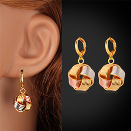 Women Jewelry Platinum 18K Real Gold Rose Gold Plated Multi-Tone Gold Fancy Ball Charms Drop Earrings