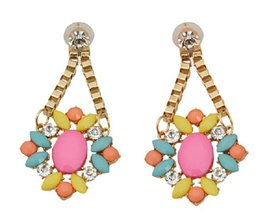 Wholesale 2013 new Best selling luxury pink stone flower color restoring ancient ways with drill earrings Fashion accessories
