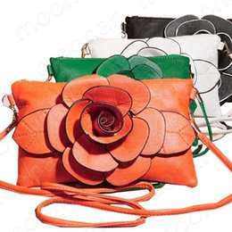 Wholesale-Big Flower Faux Leather Clutch Sling Shoulder Bags Handbag Casual Purse Zipper bag B364