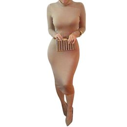 Robes bodycon kardashian en Ligne-Gros-2015 Automne Kim Kardashian sexy long Pencil femme manches Robe moulante Plus Size Noir Turtlenack Midi Bandage Party Dress Femme