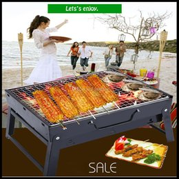 Wholesale Folding grill charcoal Thickening barbecue machine outdoor box oven Burn carbon BBQ can adjust htight portable