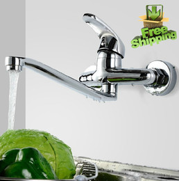 Wall Mounted Swivel Kitchen Faucets Hot And Cold Mixer Basin Tap Faucet Free Shipping