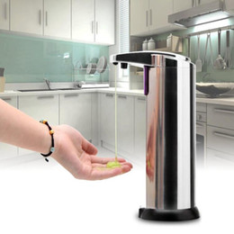 Wholesale Sensor Soap Dispenser ML Stainless Steel Automatic IR Sensor Liquid Soap Dispenser for Kitchen Bathroom Hands Free Wash Machine