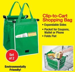 Wholesale 2pcs Grab Shopping Bag Durable Reusable Supermarket Bag That Clips To Cart Built in Cart Grab Clips Storage Foldable Bag retail package a952
