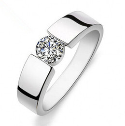 hot sell shiny zircon stone 925 sterling silver men`s rings man wedding finger ring jewelry gift