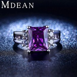 Wholesale white gold plated Purple Amethyst Jewelry CZ Diamond Wedding Rings For Women Engagement Bague Bijoux Luxury Accessories MSR202