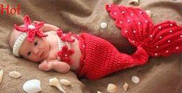 Cute baby accesorios de fotografía en venta-Bebé Infantil Sirena Animal Crochet Tricotar Traje Lindo Trajes de fotos Fotografía Peals Rojo Props para 0-9 meses Recién nacido Top 18851