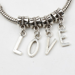 Wholesale New Antiqued Silver A Z Letter Dangles Big Hole Beads Fit European Charm Bracelet Jewelry DIY X7mm