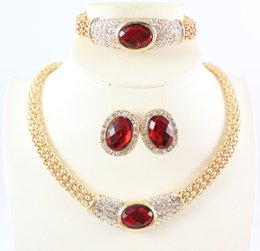 African Jewelry Sets 18K Gold Plated Crystal Gem Pendant Necklace Earring Bracelet Bride Party Set 4 Colors Choose