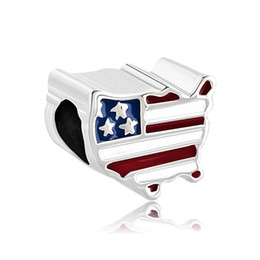 Wholesales Metal Jewelry American Map with Flag on Charm Enamel Handmade Jewelry Fits for European Bracelets