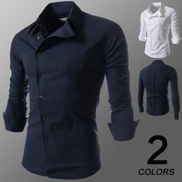2015 new Men's Long Sleeve Solid Casual Shirt Slim Fit Casual Shirts Tops Western casual long-sleeved shirt buttons oblique shirts mens