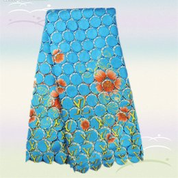 Wholesale High grade sky blue African with flower embroidery water soluble lace fabric AWL14 yds Hot sale guipure lace on sale