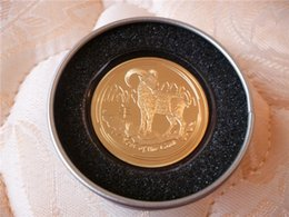 Wholesale 1 OZ Fine Gold Elizabeth Australia Lunar Year Of The Goat Gold Plated Commemorative Round Coins Packed In Metal Box
