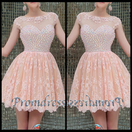 Wholesale Best Selling Cute Jewel Neck Beaded Pink Lace Chiffon Modest Short Prom Dress for Teens Chic homecoming Dress Cheap