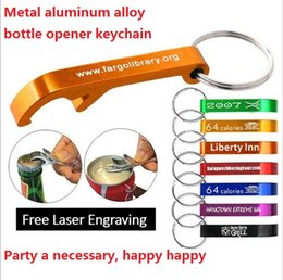 Wholesale mixed colors Aluminum alloy bottle openers with keyring laser engraving logo Keychains Free engraving