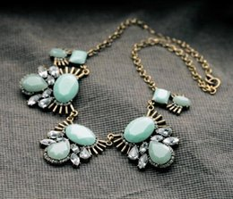Wholesale SGFN680 Sweet Girl price fresh style aqua necklace