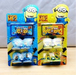 Wholesale 2015 Cute Despicable Me Minions minion Figures Seal Stamp Ink Pad Kids Children gifts Prize award D cartoon Toy stamps set best