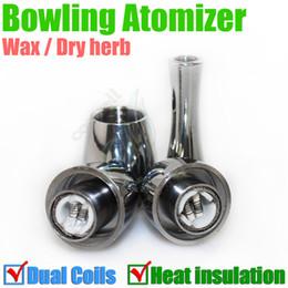 Best Bowling Atomizer rebuildable Vase cannon heat insulation tank double Dual coil Vape Herbal vapor wax Dry Herb vaporizer pen e cigatette