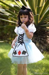 Wholesale cosplay alice kids halloween carnival costume alice dress child playing cards kids performance halloween alice wonderland costumes P