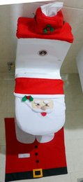 Wholesale New Christmas Piece Set Hot Sale Best Happy Santa Toilet Seat Cover Rug Bathroom Set Christmas Decorations MYF275